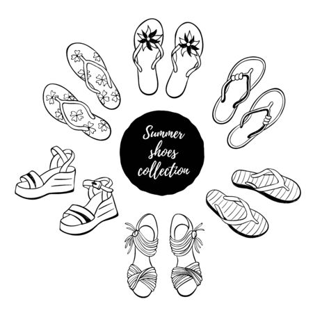 footware: Hand drawn shoes collection. Summer flip flops, flats and sandals  isolated on white background. Vector illustration of beach footware. Illustration
