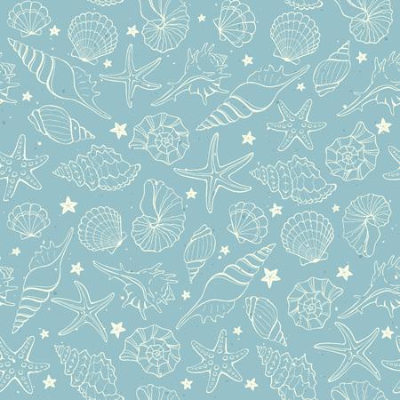 shellfish: Seamless background from hand drawn sea shells and stars. Marine illustration of shellfish. Illustration