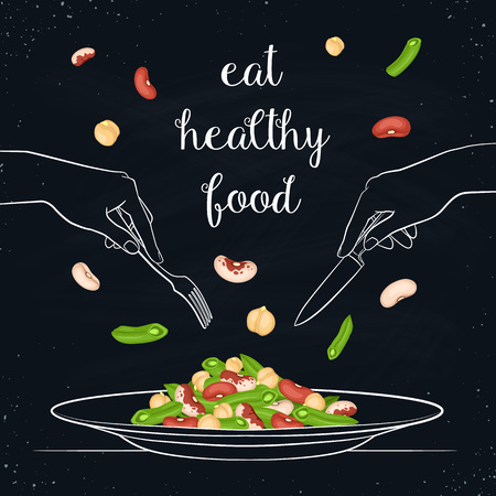 side menu: Eat healthy food concept. Fresh salad from beans and chickpea on plate isolated on chalkboard. Vector illustration of salad with hands holding fork and knife in sketch style. Illustration