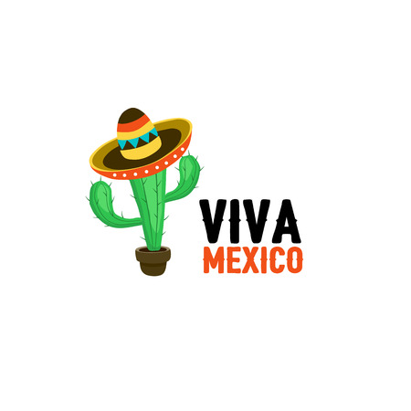 sombrero cartoon: Funny cactus in mexican hat vector illustration. Cartoon cactus in sombrero with text. Viva mexico slogan isolated on white background.