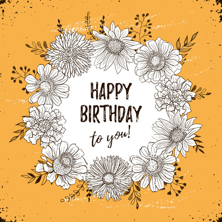 Happy Birthday Retro Poster Greeting Card With Flowers Hand