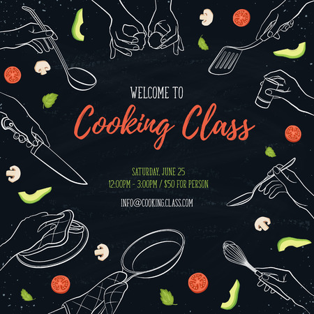 Cooking class flayer template. Cooking hands outlines on chalkboard. Frame from woman hands holding kitchen tools. Vettoriali