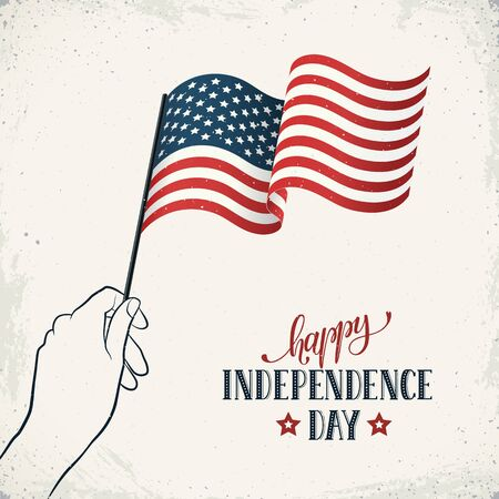 Happy Independence Day. Womens hand holding USA flag with text on retro background. USA Independence Day greetin banner in vintage style.