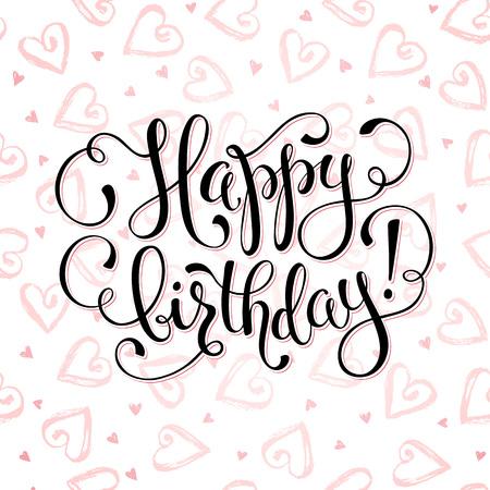 dry brush: Happy birthday greeting card.  Dry brush hearts pattern on white background. Birthday wording vector illustration.