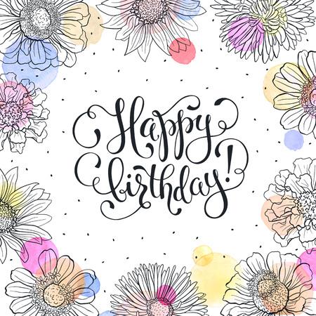 Feliz Cumpleanos Cartel Retro Tarjeta De Felicitacion Con Flores