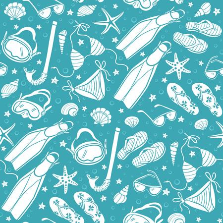 costume de bain: Maillot de bain et tongs fond dans des couleurs vintage. Illustration des maillots de bain, des masques, des coquillages, des palmes et des lunettes de soleil. Les vacances d'été seamless pattern. Hand drawn accessoires de plage dans le style rétro.