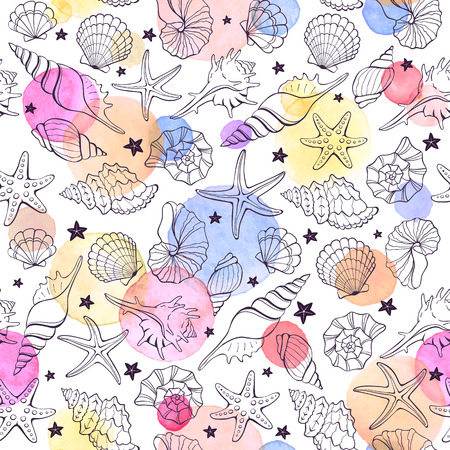 shellfish: Marine seamless pattern from hand drawn sea shells and stars. Nautical illustration of shellfish with watercolor spots on white background.