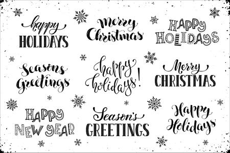 hand written new year phrases greeting card text with snowflakes