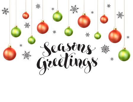 Happy holidays greeting card template. Modern New Year lettering with snowflakes ans Christmas balls isolated on white background. Season's greetings vector illustration with text.