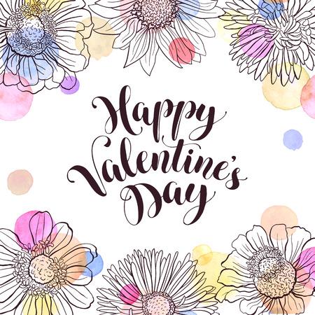 Feliz redacción Día de San Valentín con flores dibujadas a mano y manchas de la acuarela en el fondo blanco. Marco floral con el texto. Tarjeta de felicitación romántica.