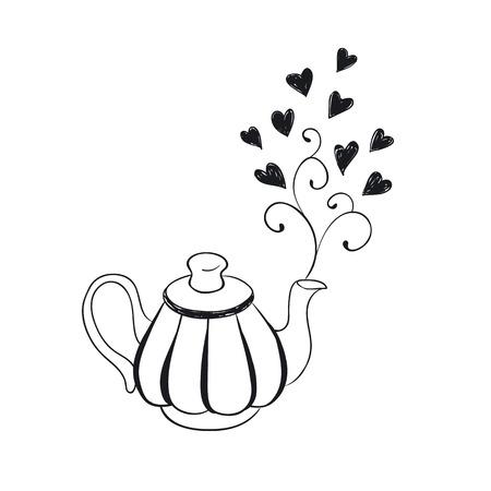 simbolo caffettiera isolato su sfondo bianco. Cucina strumento contorno in stile cartoon.