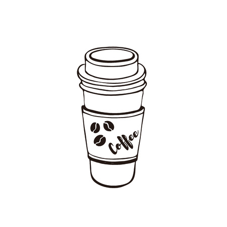 Coffee to go symbol isolated on white background. Cafe cup with lid. Line art style.