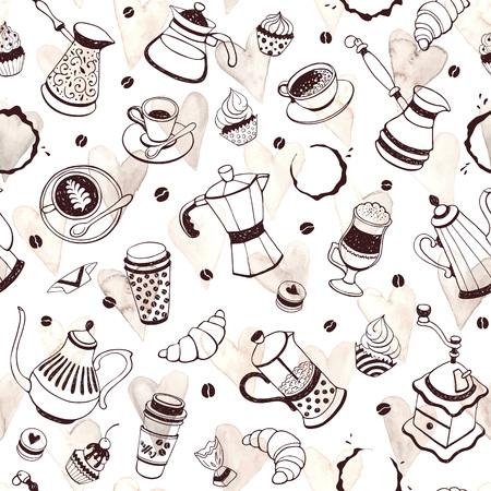 Koffietijd naadloos patroon met waterverfharten op witte achtergrond. Hand getrokken illustratie met koffiepotten, kopjes en snoep.