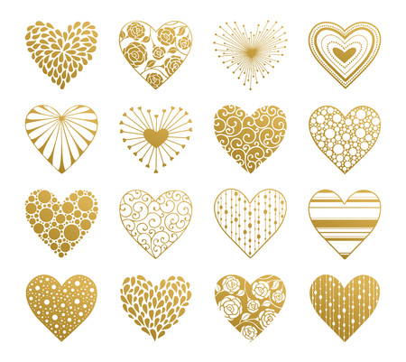 symbols: Decorative golden hearts with ornament isolated on white background. Design elements collection for Valentines Day.