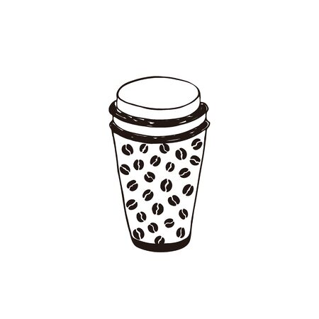Coffee to go symbol isolated on white background. Cafe coffee cup with lid.