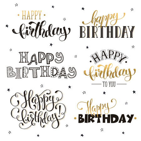Hand written happy birthday phrases in gold greeting card text hand written happy birthday phrases in gold greeting card text templates isolated on white background m4hsunfo