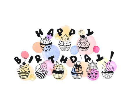 Carte de voeux de joyeux anniversaire aux couleurs pastels. Calligraphie dessiné avec des cupcakes sur fond aquarelle coloré à la main. Illustration vectorielle anniversaire dans un style romantique.