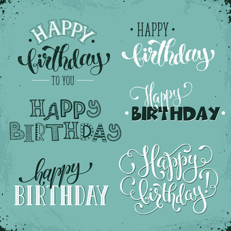 Hand Written Happy Birthday Vintage Phrases Greeting Card Text