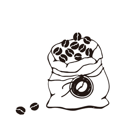 Hand drawn bag with coffee beans isolated on white background. Line art style.