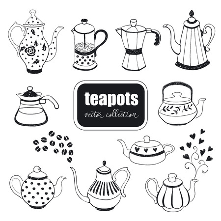kettles: Hand drawn teapots collection. Doodle teapots and coffee kettles isolated on white background. Vector illustration on tea time icons for cafe and restaurant menu design.