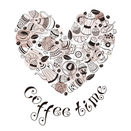 Coffee time poster concept. Coffee party greeting card design. Hand drawn line art illustration with teapots, cups and sweets in heart shape.