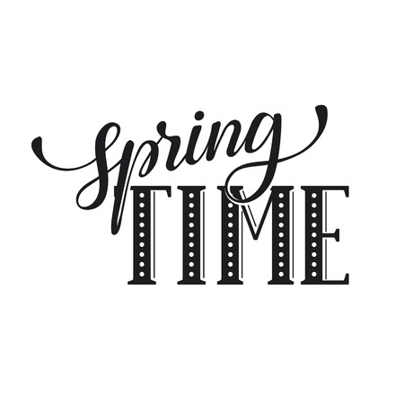 Hand written Spring time phrase. Greeting card text template isolated on white background. Spring time wording. Vettoriali