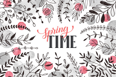 florish: Hello spring lettering with branches and whatercolor spots on white background. Spring time wording. Modern calligraphy for greeting card design. Illustration