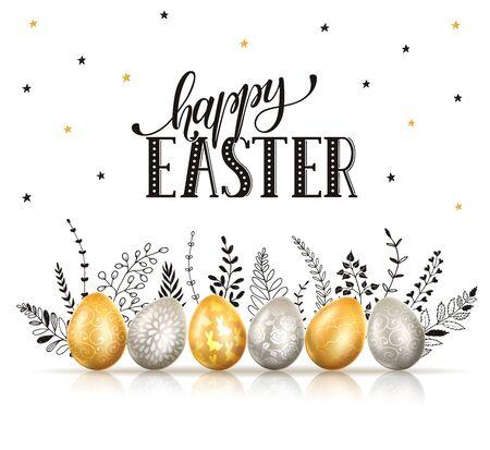 Cartão de feliz Páscoa. Ovos com ornamentos nas cores ouro e prata com ramos de mão desenhada isolados no fundo branco.