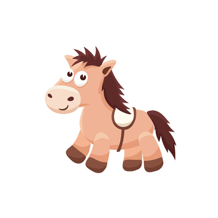 castor: Adorable pony illustration. Cute cartoon animal isolated on white background. Vectores