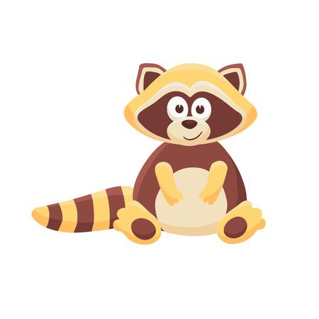 Adorable raccoon illustration. Cute cartoon animal isolated on white background.