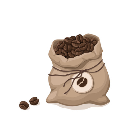 Textile bag with coffee beans isolated on white background. Illustration