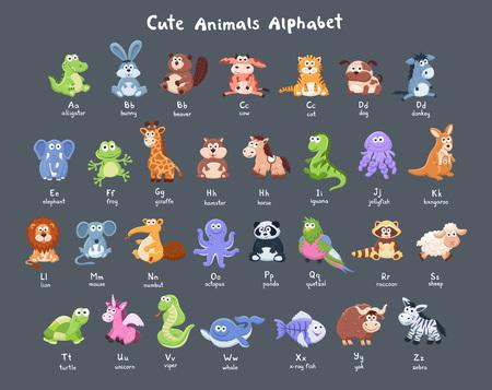 재미 있은 문자 알파벳. 어두운 배경에 라틴어 편지와 귀여운 만화 아기 동물 컬렉션.