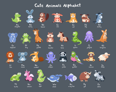 Funny characters alphabet. Cute cartoon baby animals collection with latin letters on dark background.