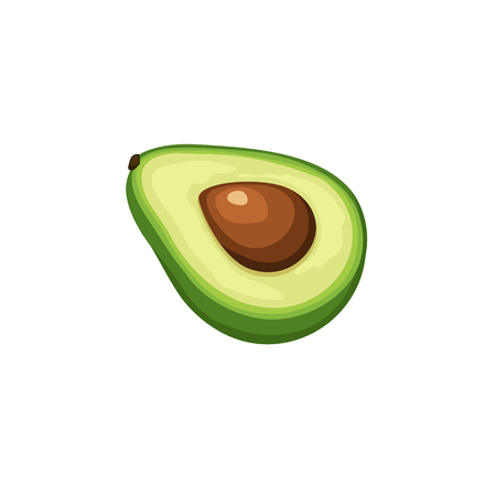 Fresh avocado cut in half icon isolated on white background.