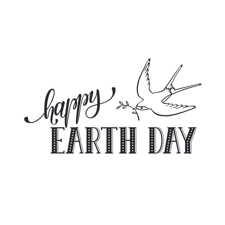 wording: Earth day text with swallow flying isolated on white  background.