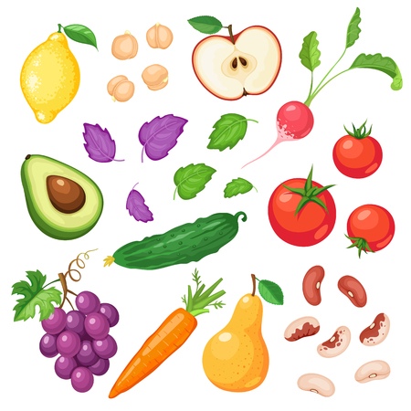 Fresh fruits and vegetables isolated on white background. Tomatoes, cucumber, red and white beans and chickpeas. Avocado cut in half, basil, carrot and radish. Pear, apple and grapes.