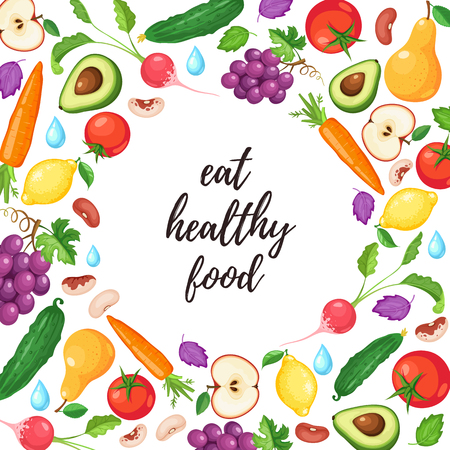 Eat healthy food poster with fresh fruits and vegetables. Ilustração