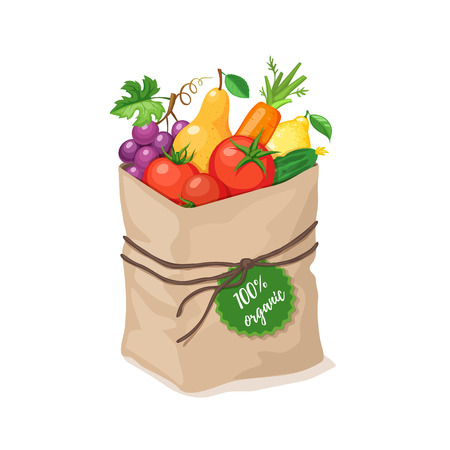 Paper bag with 100 percent organic food. Illustration