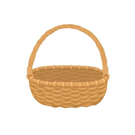 Picnic basket isolated on white Illustration of empty bamboo basket. Ilustração