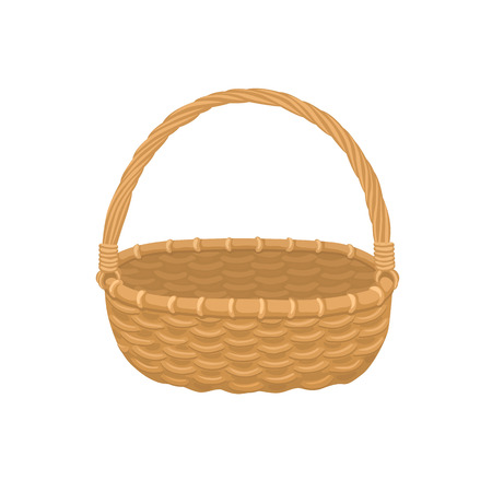 Picnic basket isolated on white Illustration of empty bamboo basket. Illustration