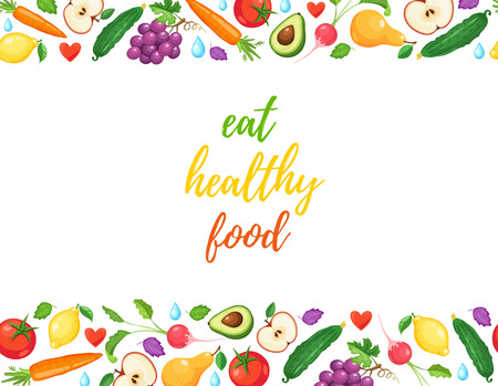 Eat healthy food banner with fresh fruits and vegetables horizontal composition from food.