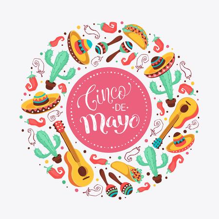 Cinco de mayo海报在圈子形状。墨西哥文化属性收集。吉他,阔边帽,maracas,仙人掌和墨西哥胡椒在轻的背景隔绝。Cinco de Mayo贺卡。