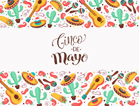 Viva Mexico poster in horizontal stripe composition. Mexican culture symbols collection. Guitar, sombrero, maracas, cactus and jalapeno isolated on white background.