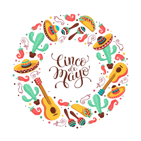 Cinco de Mayo greeting card in circle shape. Mexican culture attributes collection. Cinco de Mayo poster with guitar, sombrero, maracas, cactus and jalapeno isolated on light background.