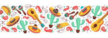 Cinco de Mayo crea una composizione a strisce orizzontali. Collezione simboli della cultura messicana. Chitarra, sombrero, maracas, cactus e jalapeno isolato su sfondo bianco. Il Messico nazionale attribuisce uno striscione. Archivio Fotografico - 76697357