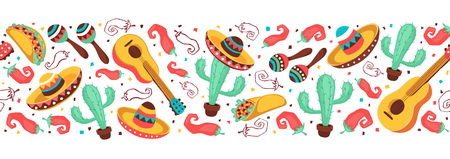 Cinco de Mayo objects horizontal stripe composition. Mexican culture symbols collection. Guitar, sombrero, maracas, cactus and jalapeno isolated on white background. National Mexico attributes banner.