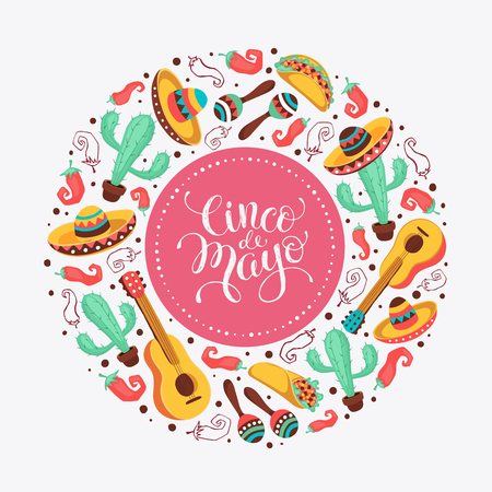 features: Cinco de Mayo poster  in circle shape. Mexican culture attributes collection. Guitar, sombrero, maracas, cactus and jalapeno isolated on light background. Cinco de Mayo greeting card.