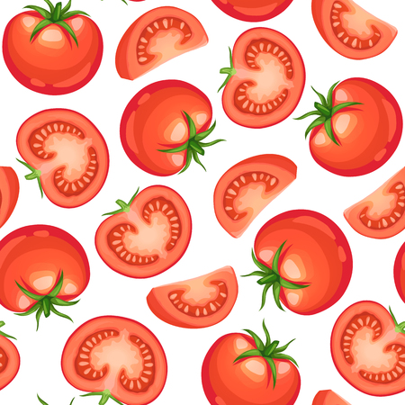 Seamless background from chopped ripe tomatoes isolated on white background.  Fresh tomato slices pattern. Illustration