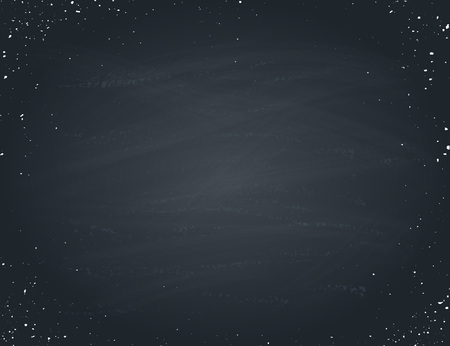 Horisontal blackboard isolated with white splashes. Hand drawn chalkboad texture for background. Vector illustration.