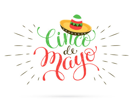 Funny Cinco de Mayo illustration with text. Mexican lettering with sombrero icon isolated on white background.